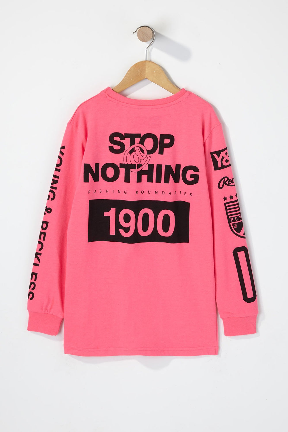 Young & Reckless Boys Rule Breakers Neon Long Sleeve Shirt Pink