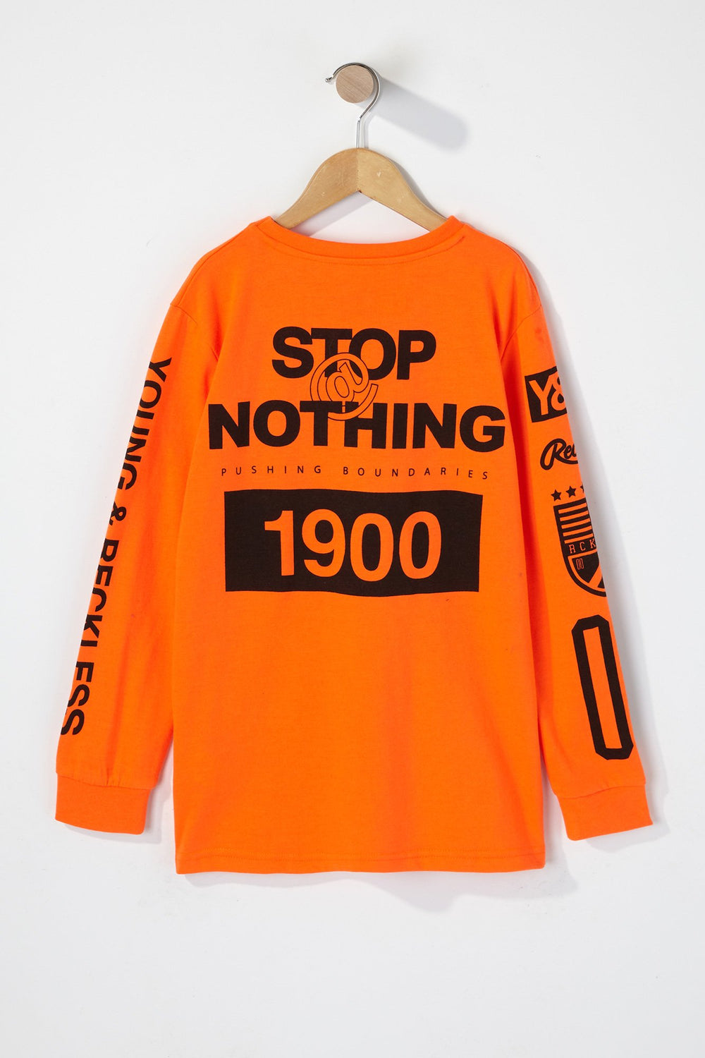 Young & Reckless Boys Rule Breakers Neon Long Sleeve Shirt Orange