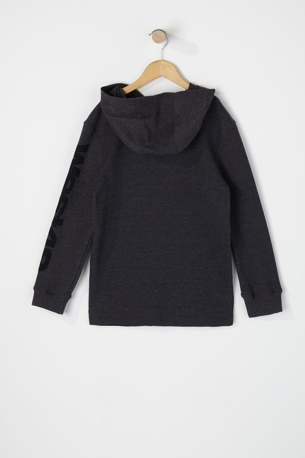 West49 Boys Waffle Henley Hooded Long Sleeve Shirt Charcoal