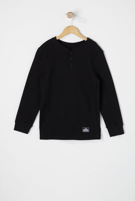 West49 Boys Waffle Henley Long Sleeve Shirt