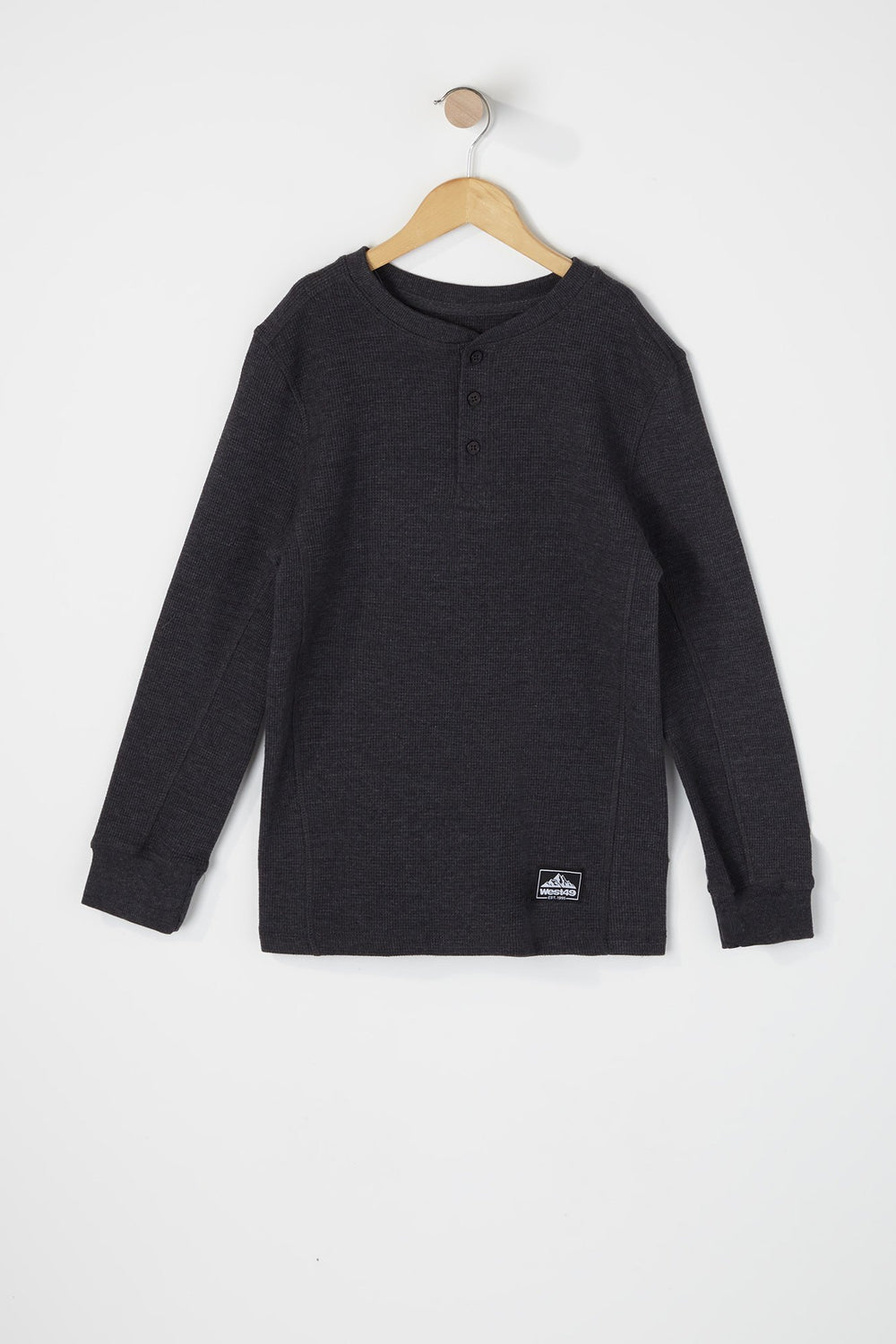 West49 Boys Waffle Henley Long Sleeve Shirt Charcoal