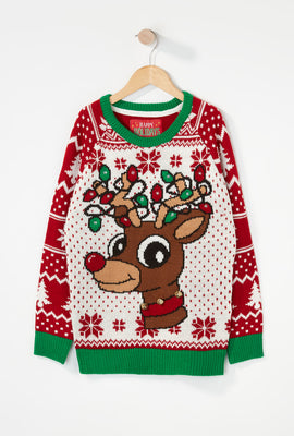 Boys Light-Up Rudolph Christmas Sweater
