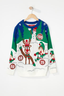Boys Snowball Fight Ugly Christmas Sweater