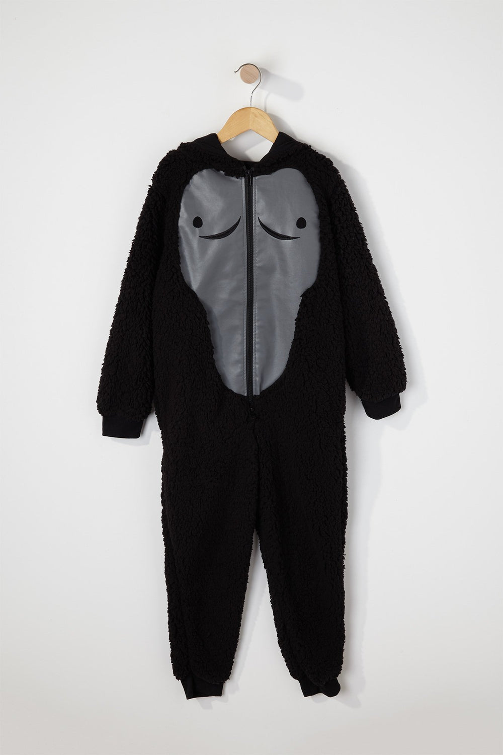 Youth Sherpa Gorilla Onesie Black
