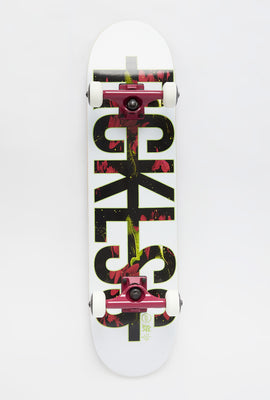 Young & Reckless Neon Floral Logo Complete Skateboard 7.5