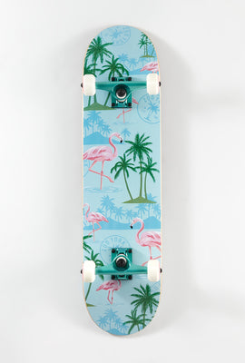 Skateboard Imprimé Tropical et Flamants Roses Zoo York 7.75