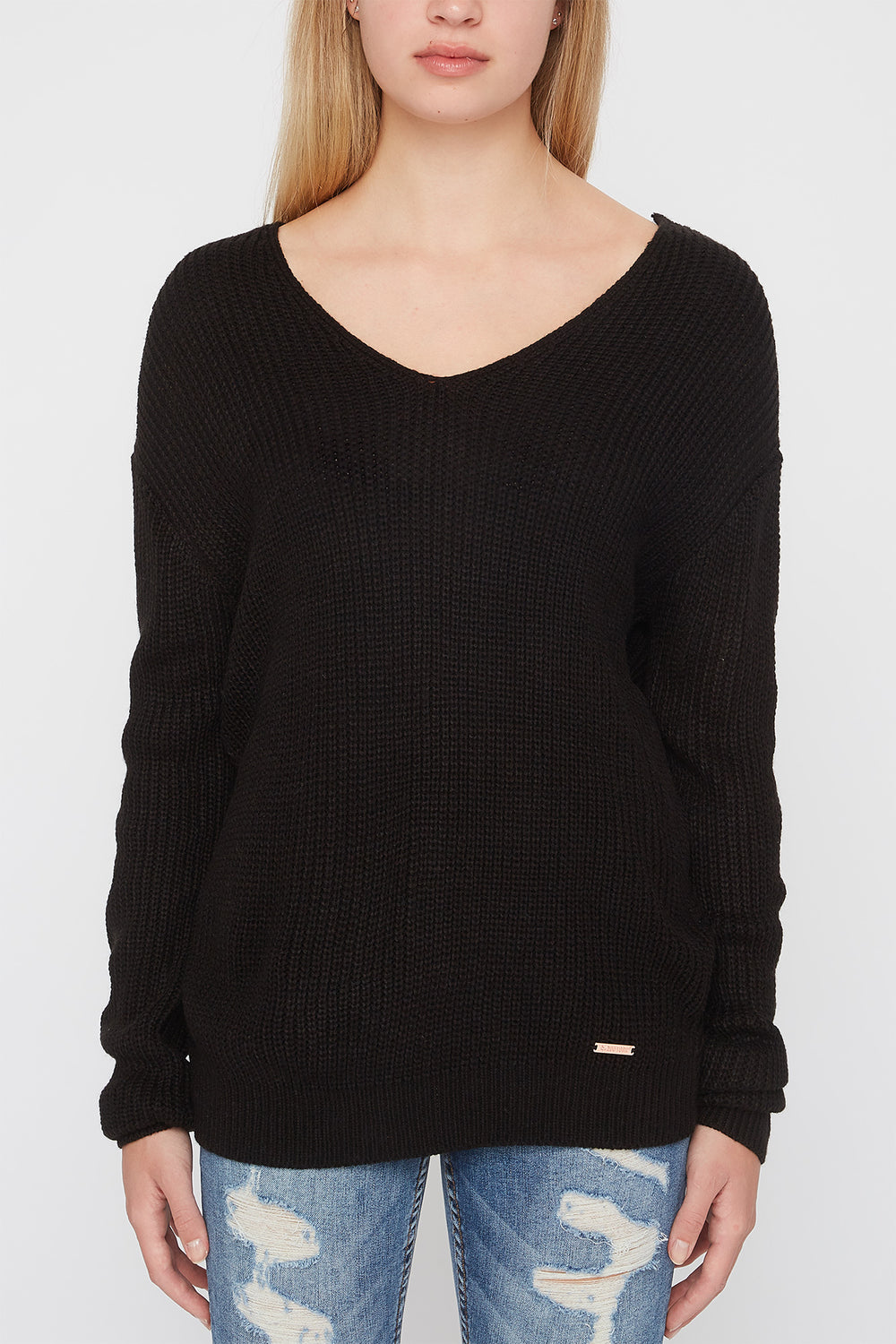 Zoo York Womens Knit Back Knot Sweater Black