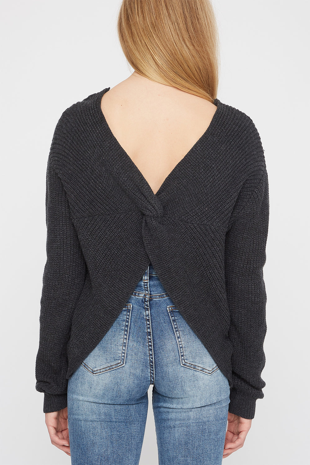 Zoo York Womens Knit Back Knot Sweater Charcoal
