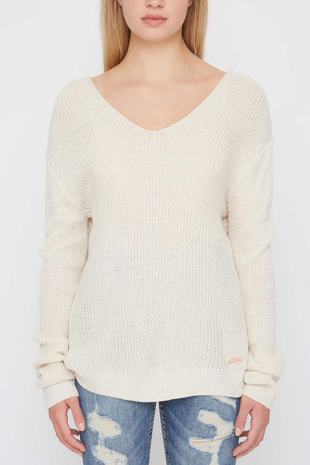 Zoo York Womens Knit Back Knot Sweater Oatmeal