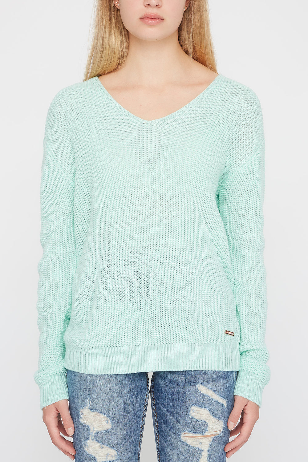 Zoo York Womens Knit Back Knot Sweater Sage