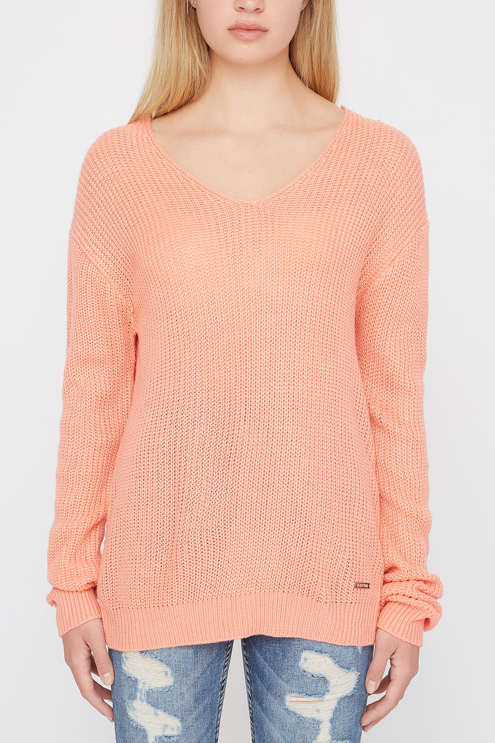 Zoo York Womens Knit Back Knot Sweater Peach