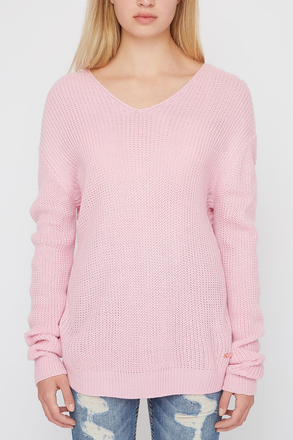 Zoo York Womens Knit Back Knot Sweater Light Pink