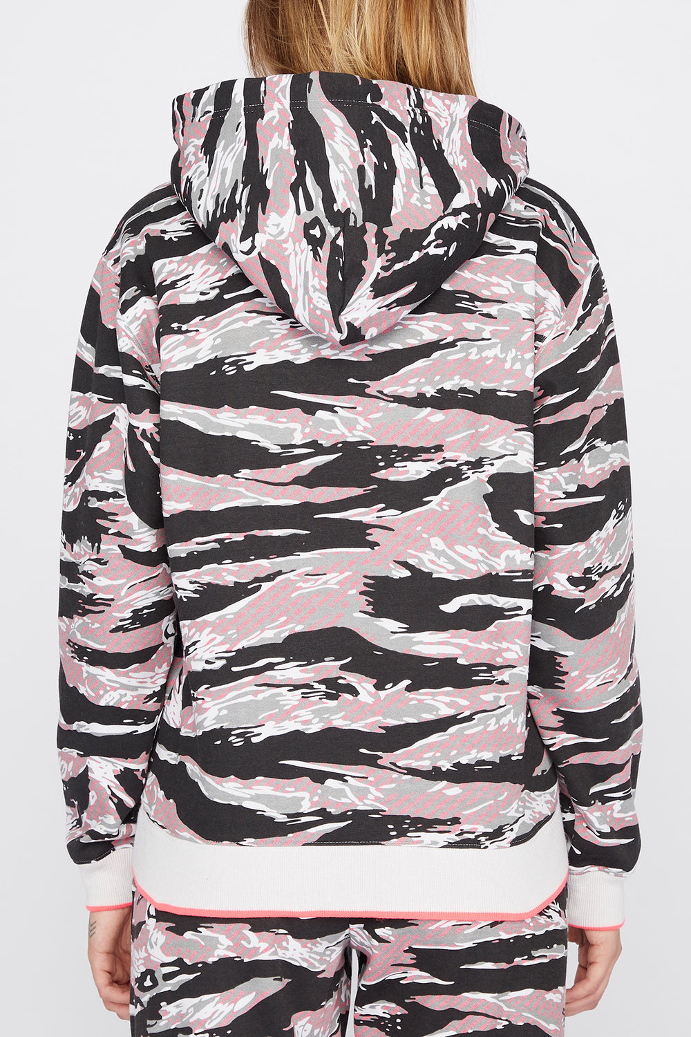 Young & Reckless Womens Tiger Camo Hoodie Black with White