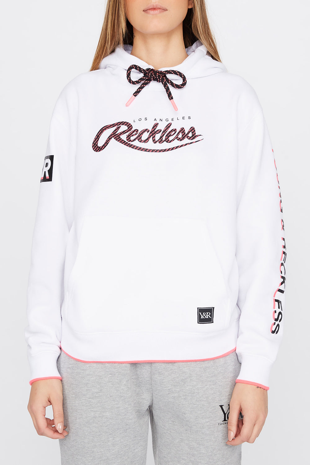 Young & Reckless Womens Print Logo Popover Hoodie White
