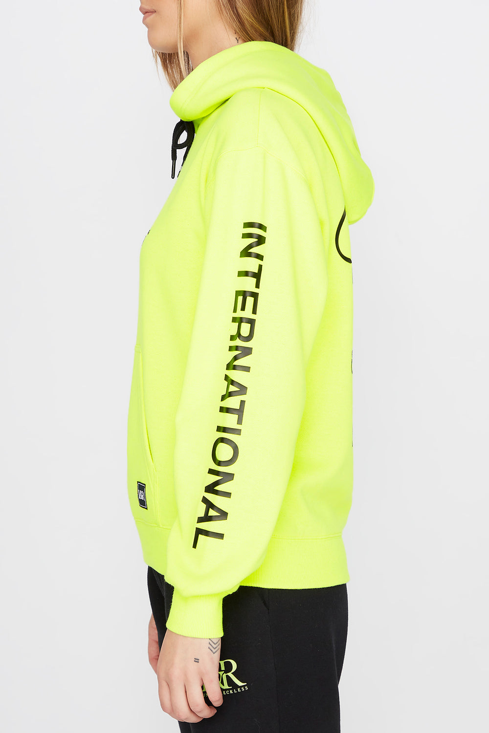 Young & Reckless Womens Neon LA Popover Hoodie Neon Yellow
