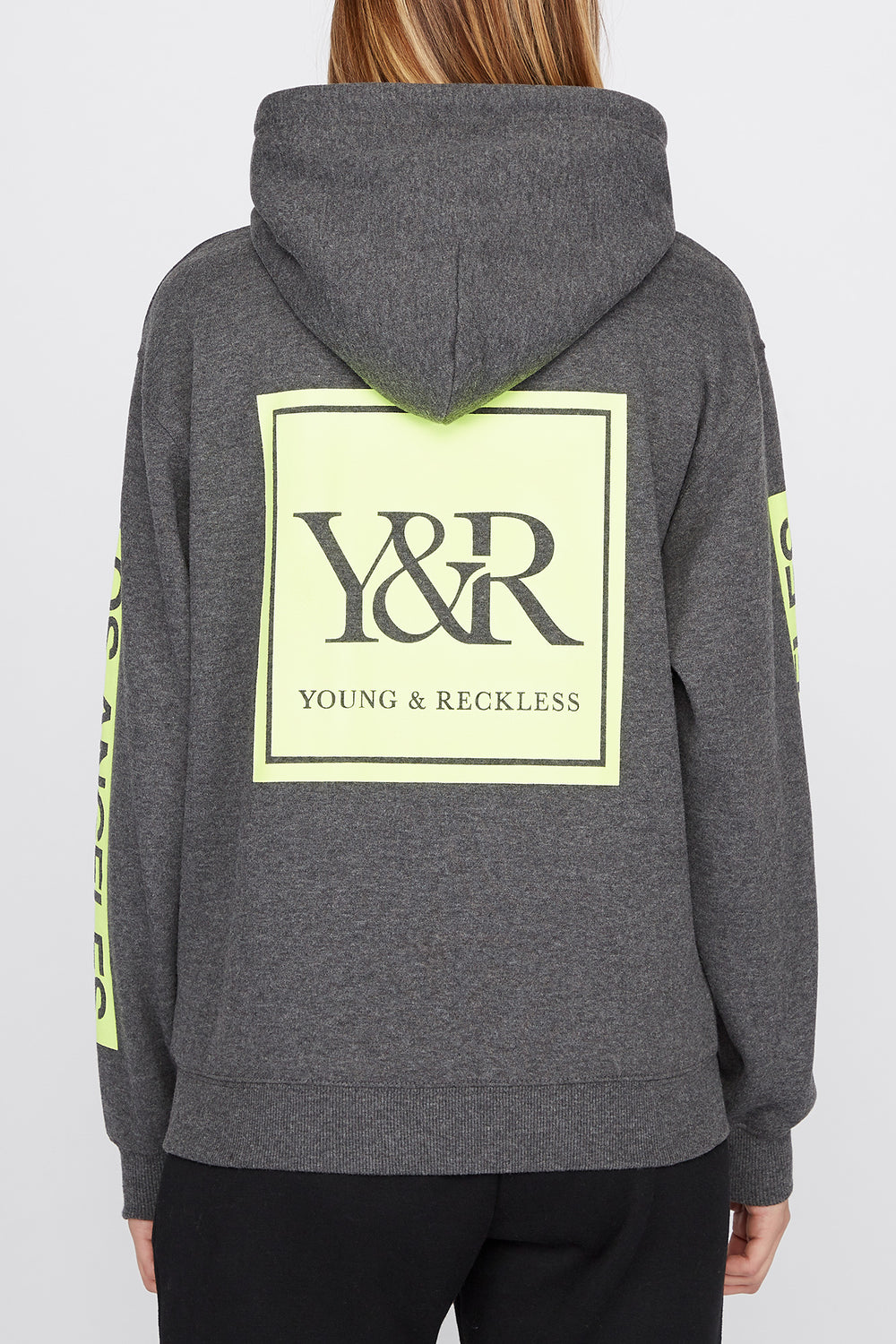 Young & Reckless Womens Neon Logo Popover Hoodie Charcoal