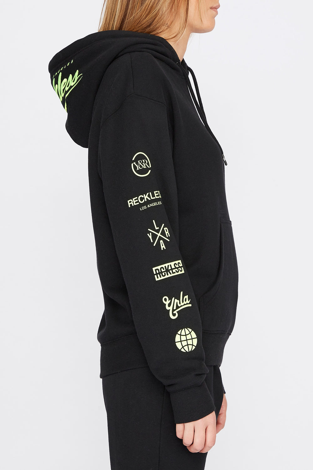 Young & Reckless Womens Embroidered Neon Logo Hoodie Black