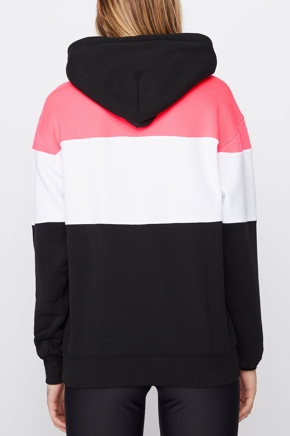 Young & Reckless Womens Neon Colour Block Hoodie Black
