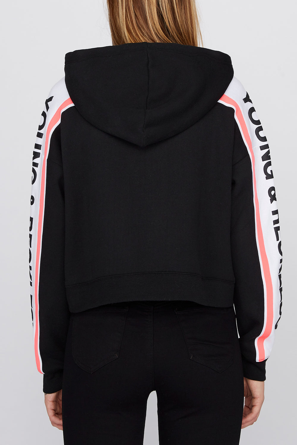 Young & Reckless Womens Side Tape Cropped Hoodie Black