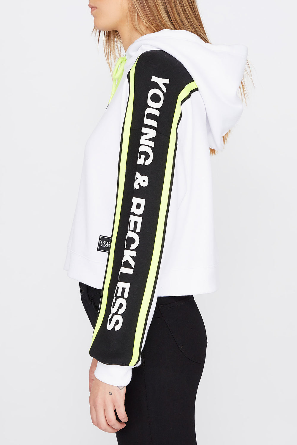Young & Reckless Womens Side Tape Cropped Hoodie White