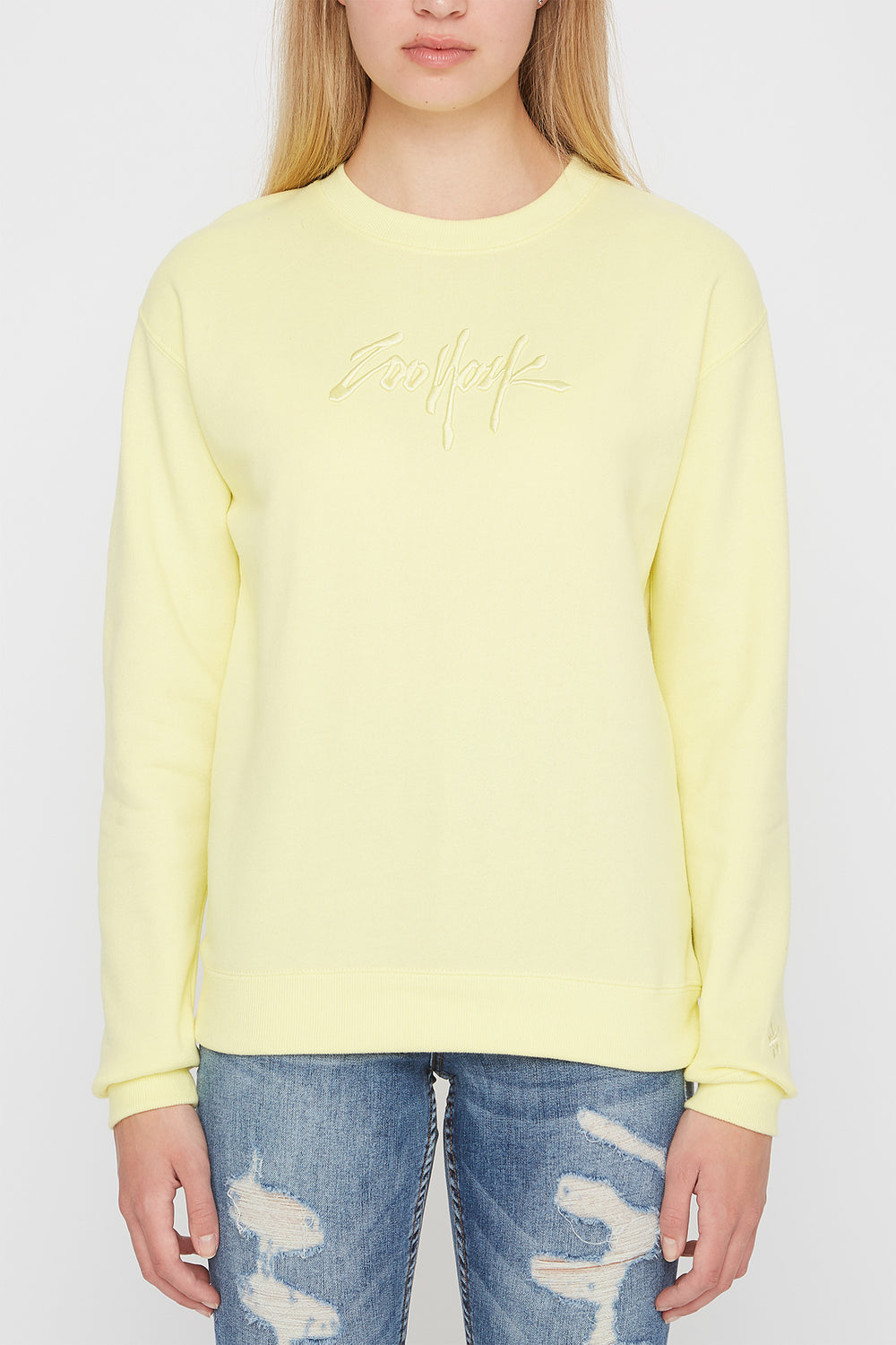 Zoo York Womens Embroidered Logo Pastel Sweater Pale Yellow