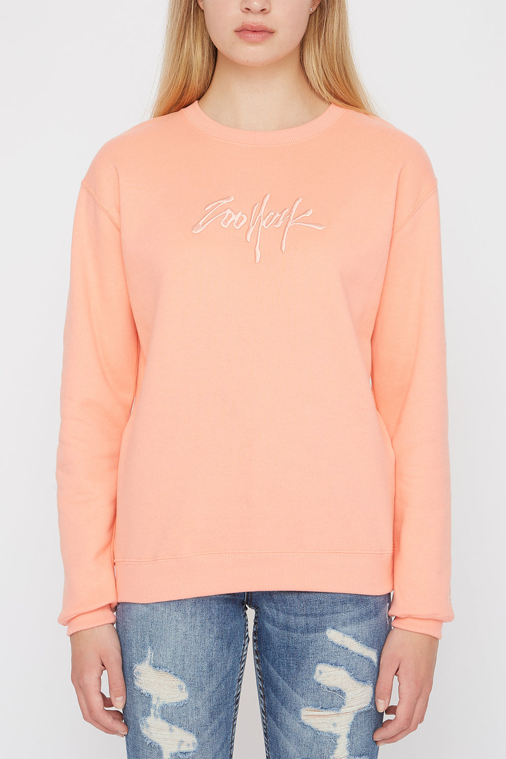 Zoo York Womens Embroidered Logo Pastel Sweater Peach