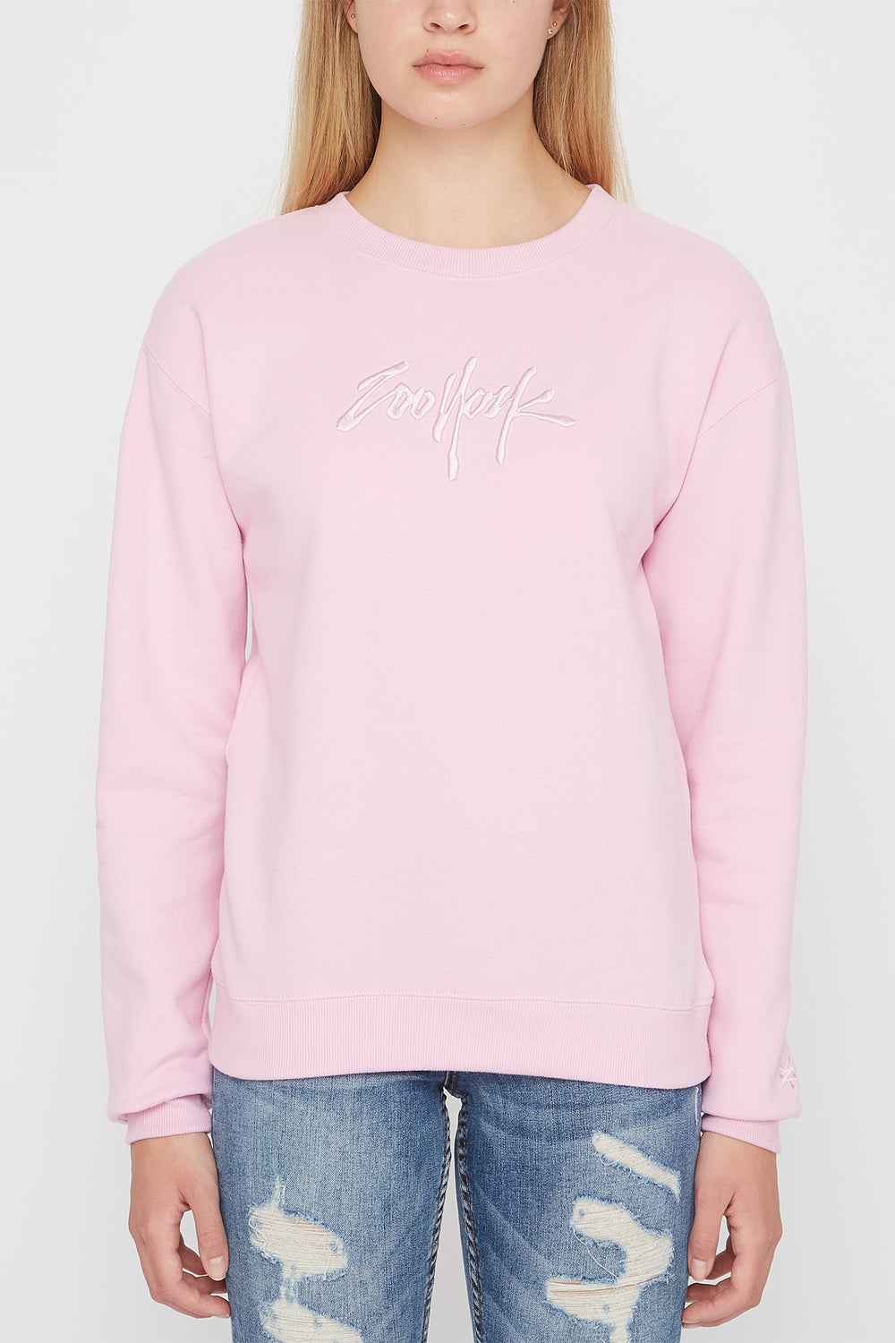 Zoo York Womens Embroidered Logo Pastel Sweater Light Pink