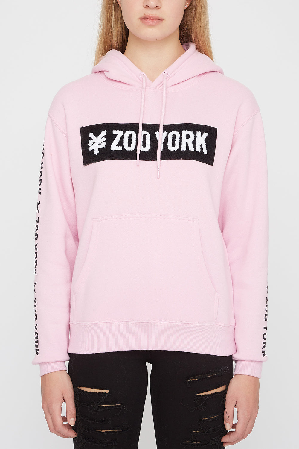 Zoo York Womens Chenille Box Logo Hoodie Light Pink