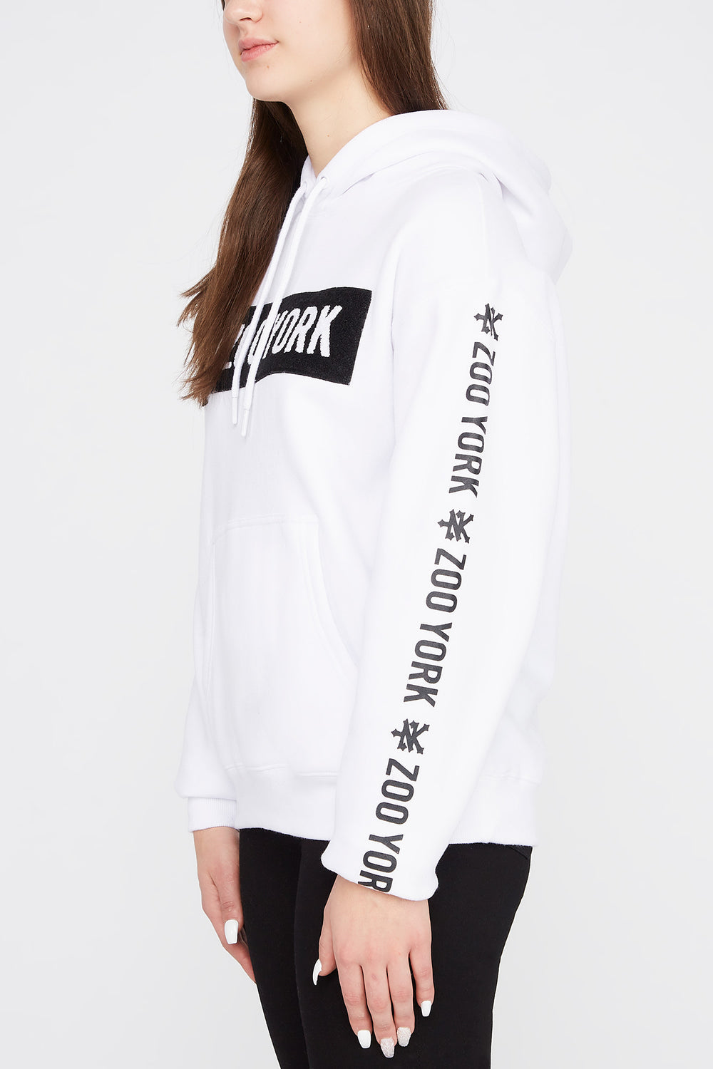 Zoo York Womens Chenille Box Logo Hoodie White