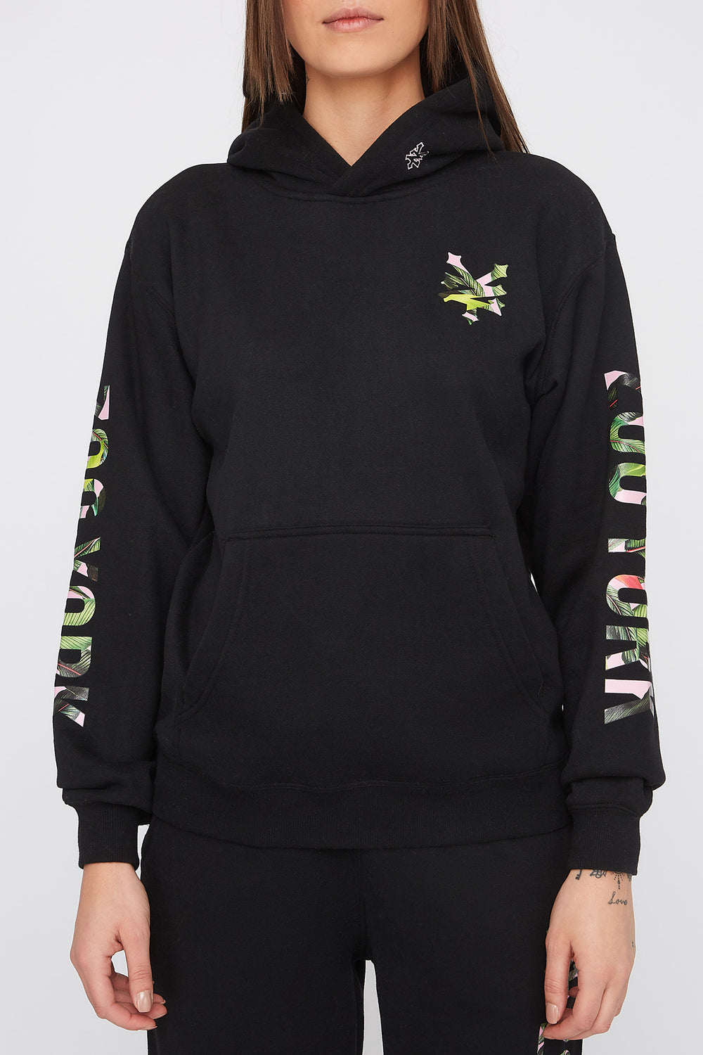 Zoo York Womens Tropical Logo Hoodie Black