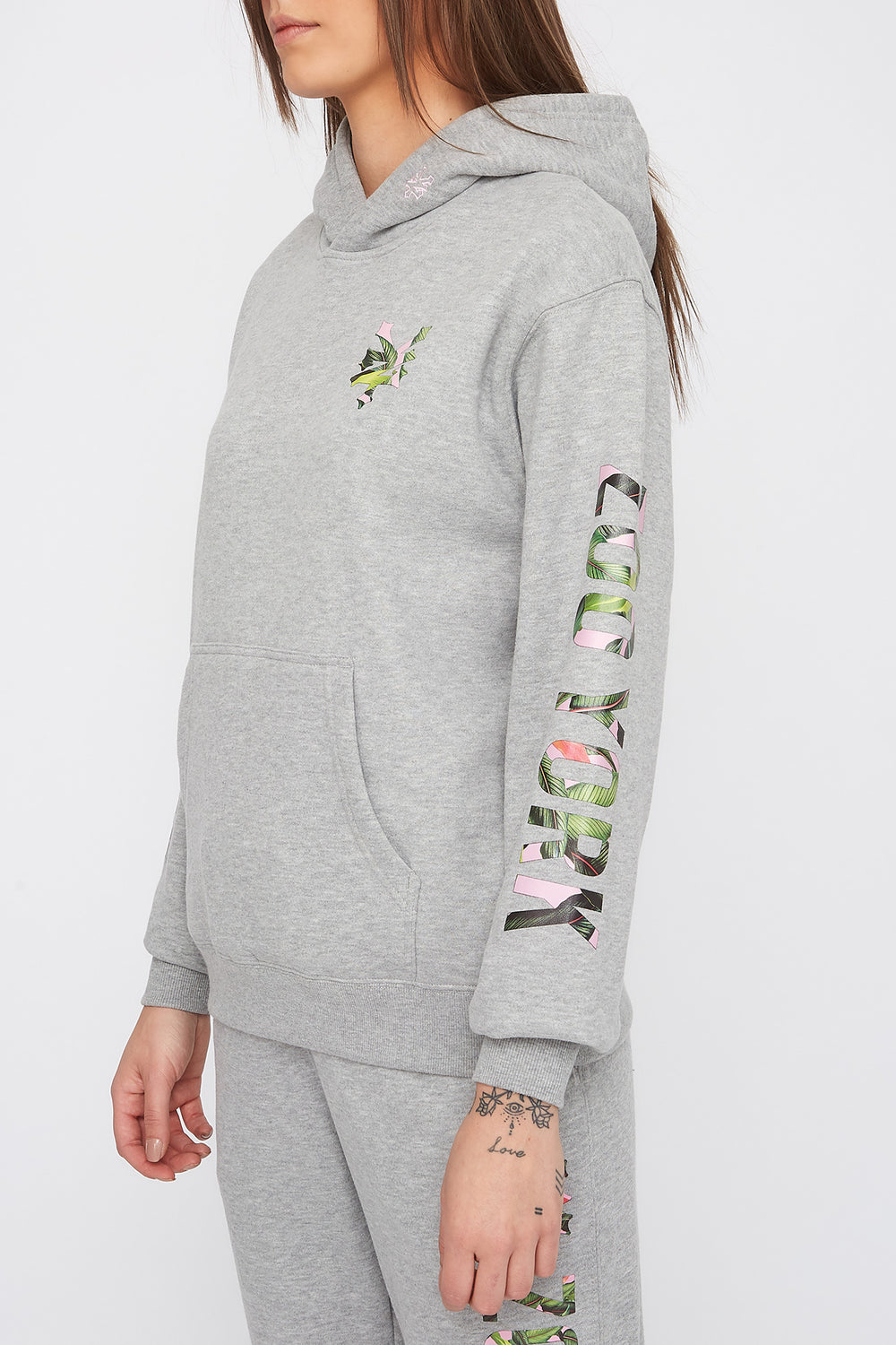 Zoo York Womens Tropical Logo Hoodie Heather Grey