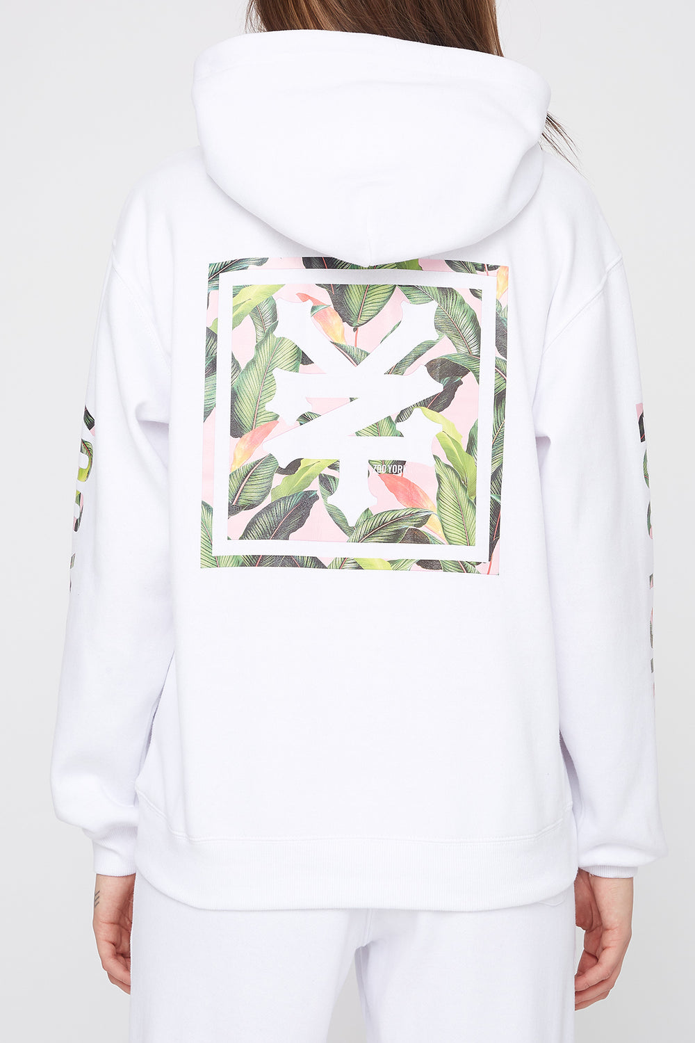 Zoo York Womens Tropical Logo Hoodie White