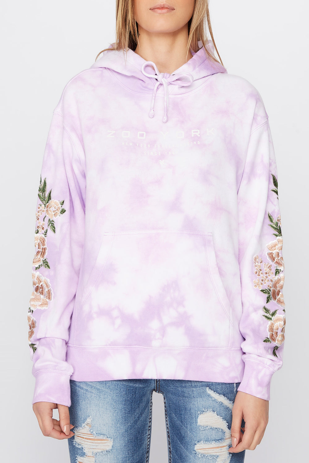 Zoo York Womens Embroidered Roses Hoodie Lilac