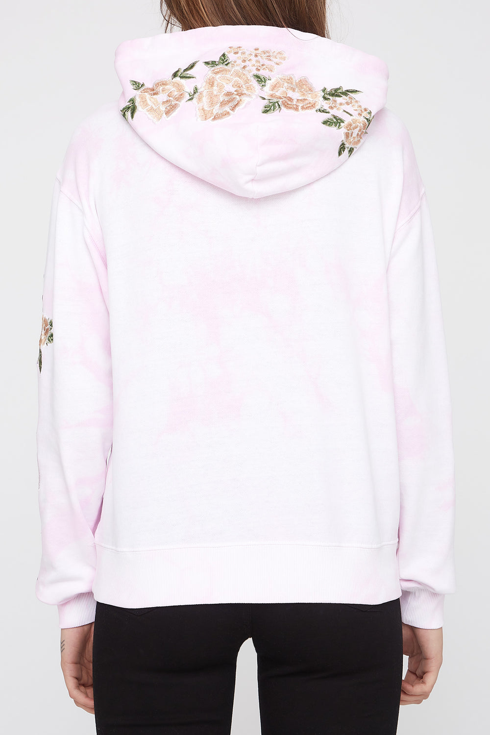 Zoo York Womens Embroidered Roses Hoodie Light Pink
