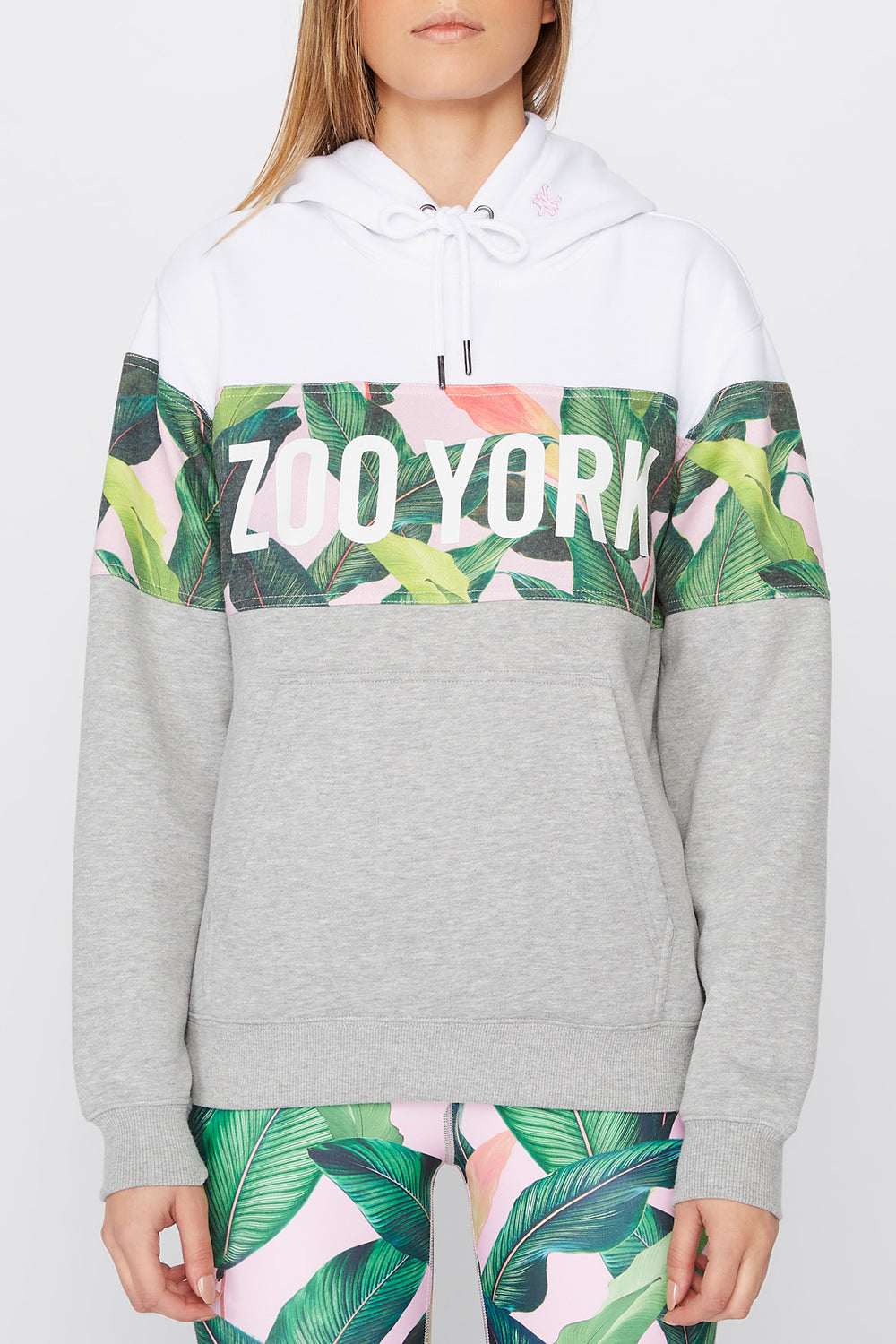 Zoo York Womens Tropical Colour Block Hoodie Heather Grey