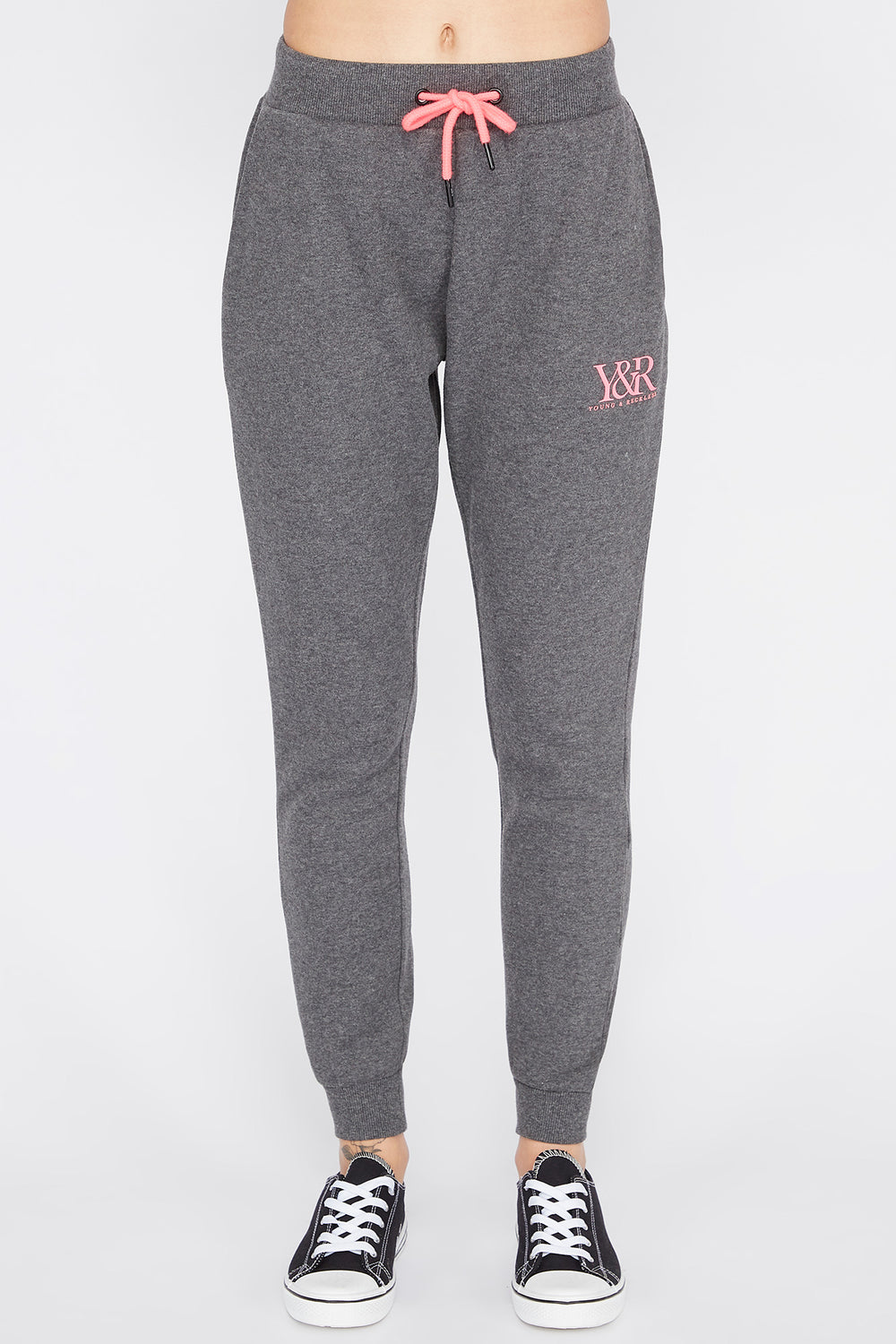 Young & Reckless Womens Solid Jogger Charcoal