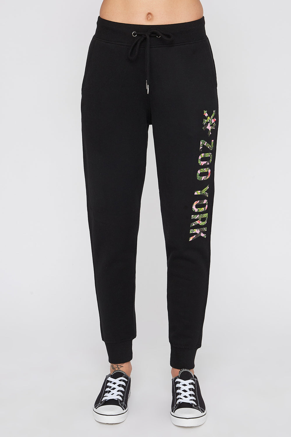 Zoo York Womens 3-Pocket Tropical Logo Joggers Black