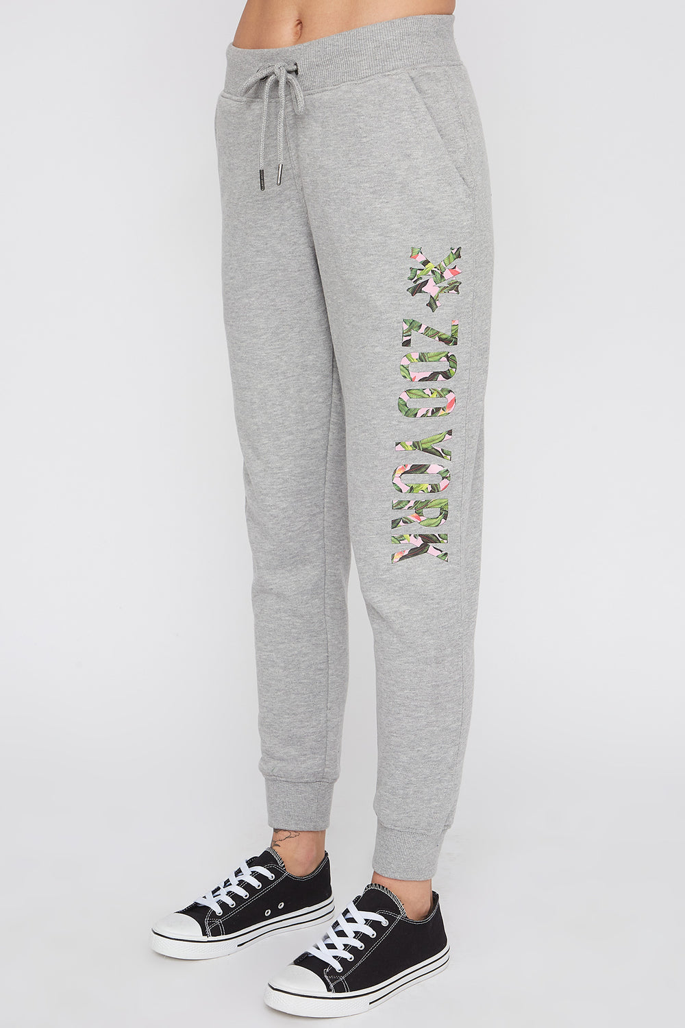 Zoo York Womens 3-Pocket Tropical Logo Joggers Heather Grey