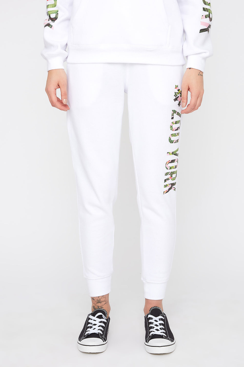 Zoo York Womens 3-Pocket Tropical Logo Joggers White