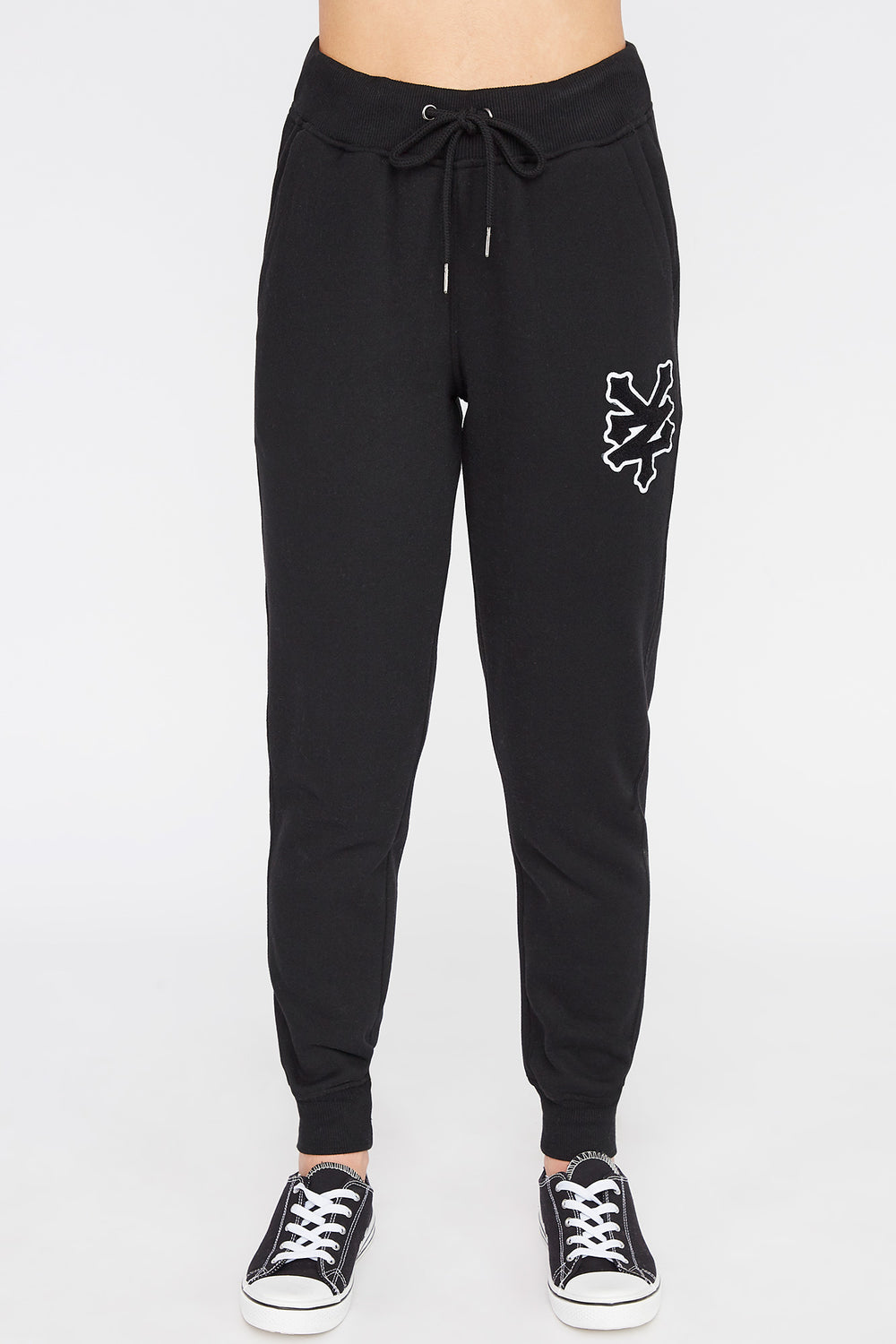 Zoo York Womens Chenille Patch Logo Joggers Black