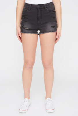 Zoo York Womens Black Distressed High Waisted Denim Short