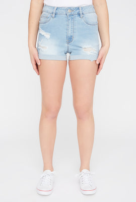 Zoo York Womens Distressed High Waisted Denim Short