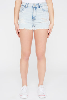 Zoo York Womens High Waisted Distressed Denim Short