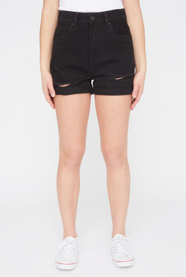 Zoo York Womens Black Distressed Mom Jean Short