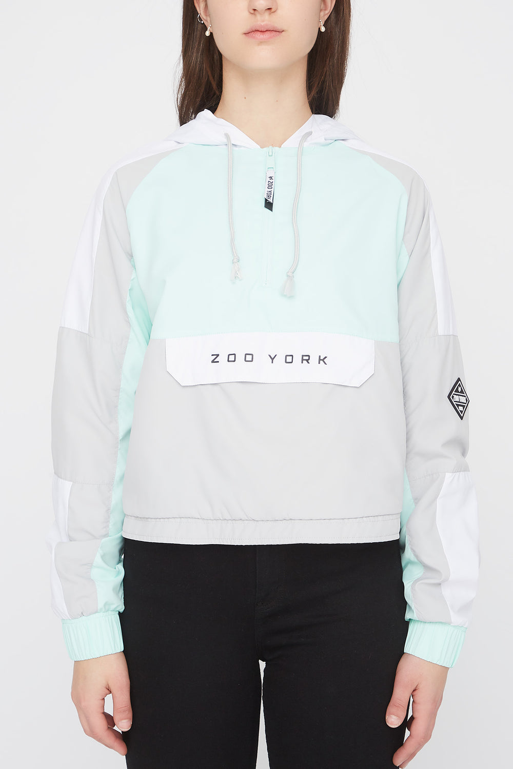 Zoo York Womens Cropped Colour Block Jacket Sage
