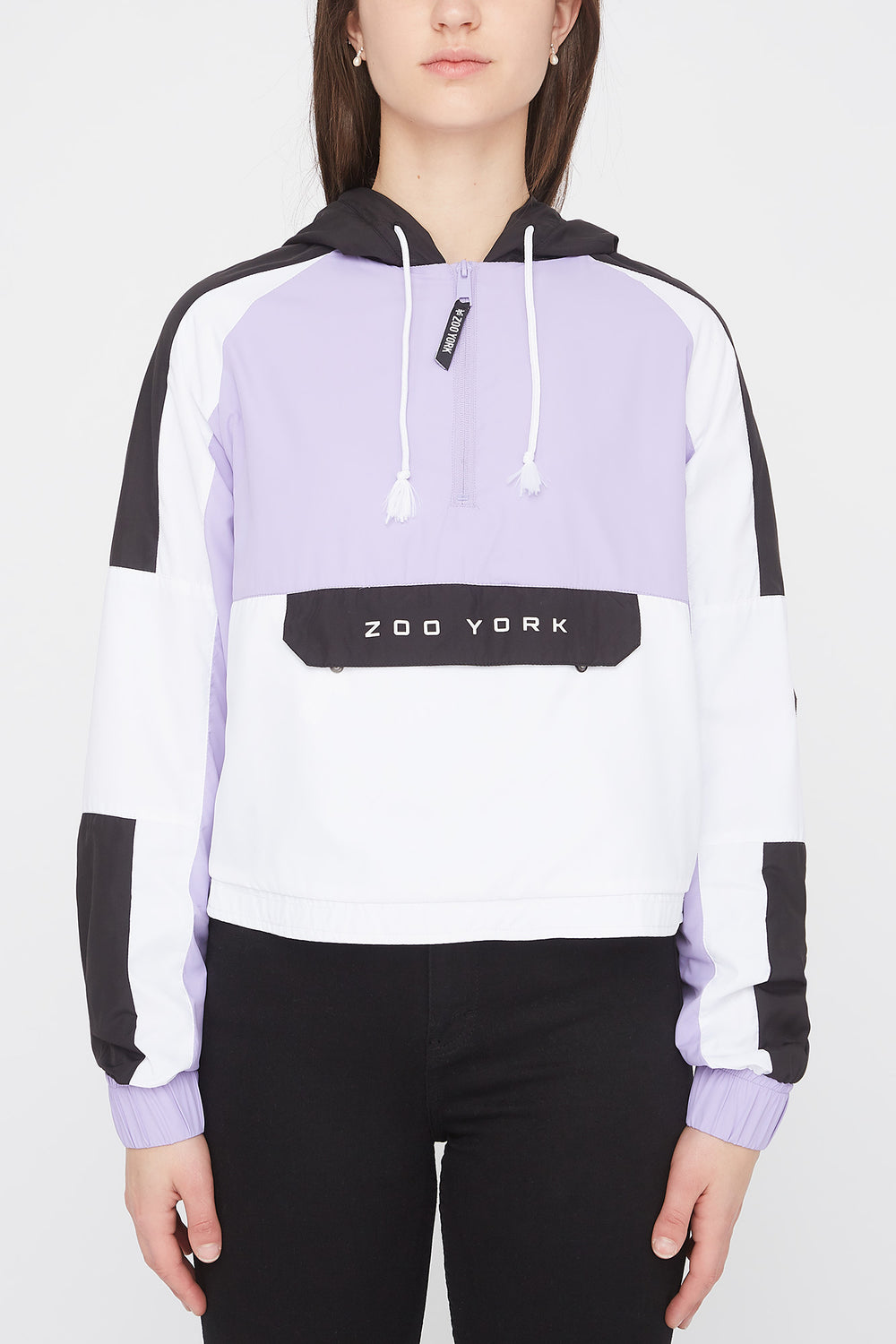 Zoo York Womens Cropped Colour Block Jacket Lilac