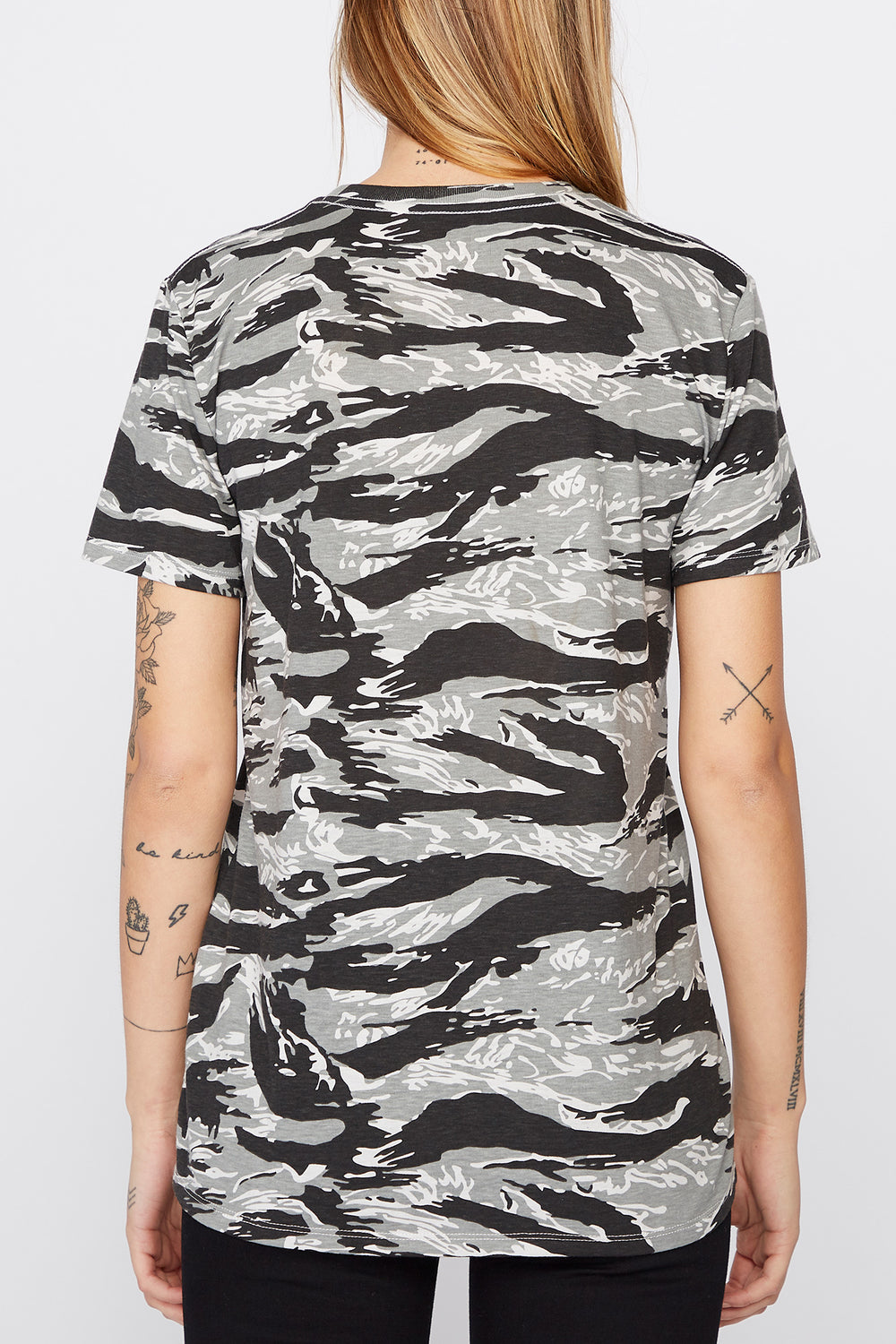 Young & Reckless Womens Camo & Neon T-Shirt Black with White
