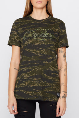 Young & Reckless Womens Camo & Neon T-Shirt