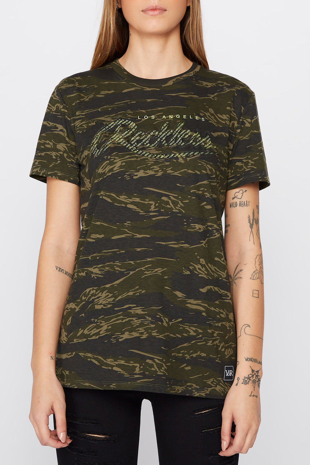 Young & Reckless Womens Camo & Neon T-Shirt Camouflage