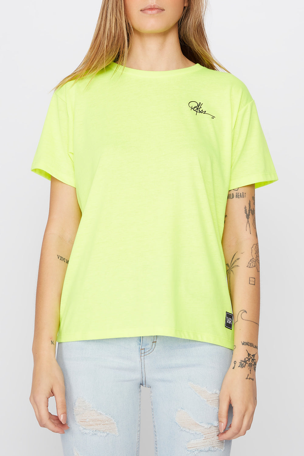 Young & Reckless Womens Neon Cities Of LA T-Shirt Neon Yellow